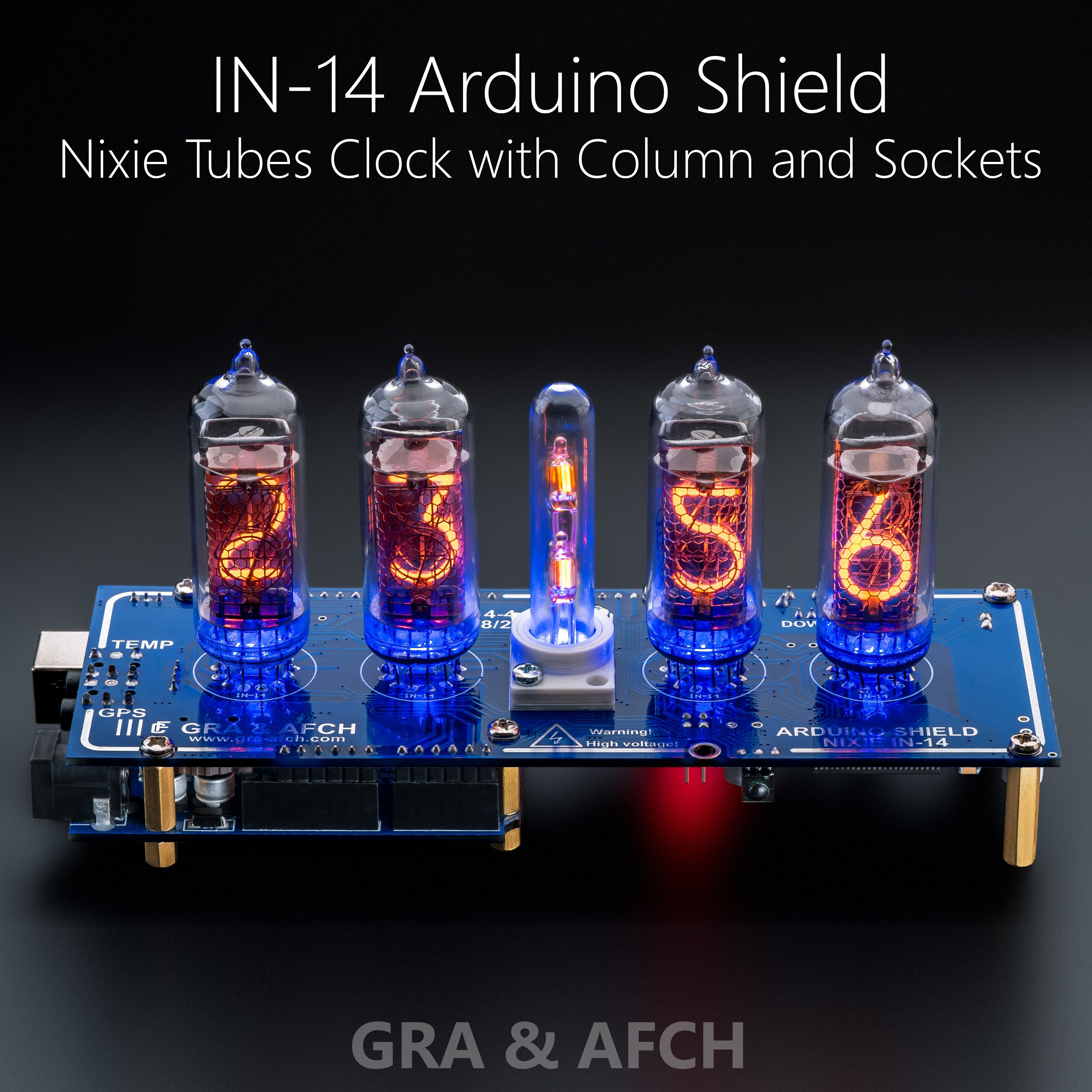 Nixie Tubes Clock IN-14 Arduino Shield in Acrylic Case GPS, Temp. sensor, Remote
