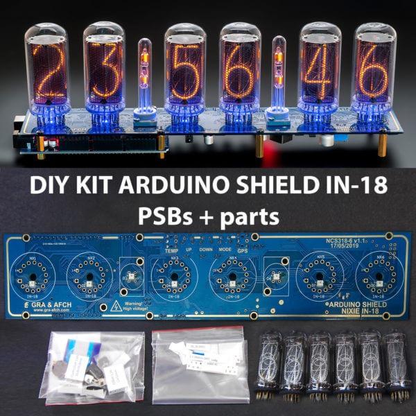 DIY KIT for IN-18 Arduino Shield Nixie Tubes Clock options: Columns, Tubes,  Arduino, GPS, Temp sensor, Remote [TUBES OPTIONAL]