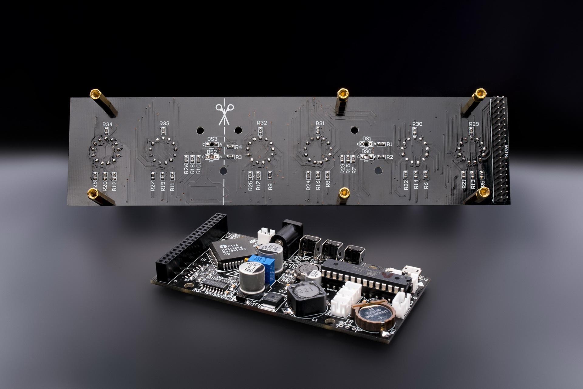 Nixie Tubes Clocks In 14 Musical Rgb Usb Arduino Comp Black Tube Clock Circuit