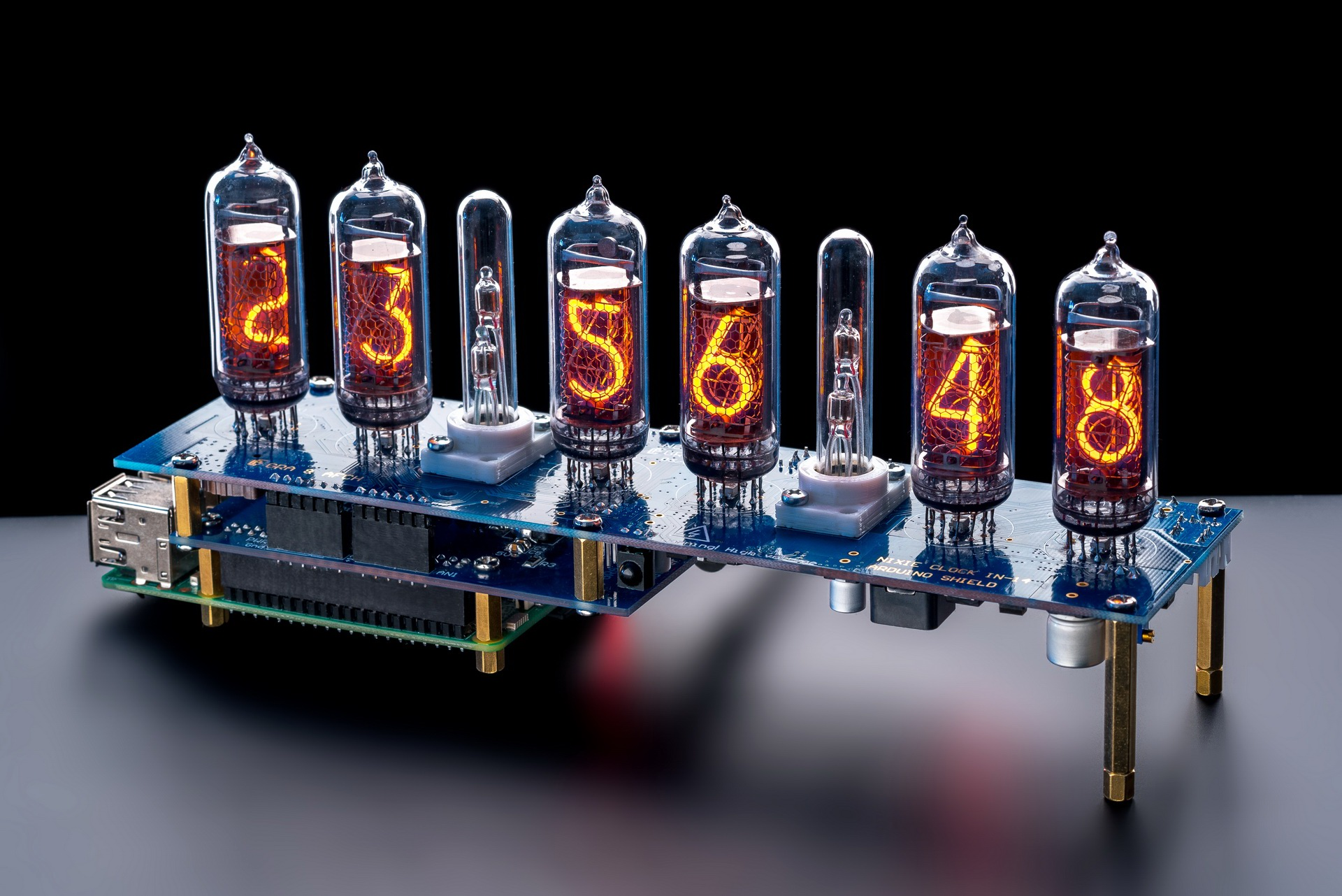 Raspberry Pi HAT Nixie Tubes Clock NCS314 for IN-14 Nixie Tubes, Options:  Tubes, GPS, Remote, Arduino, Columns