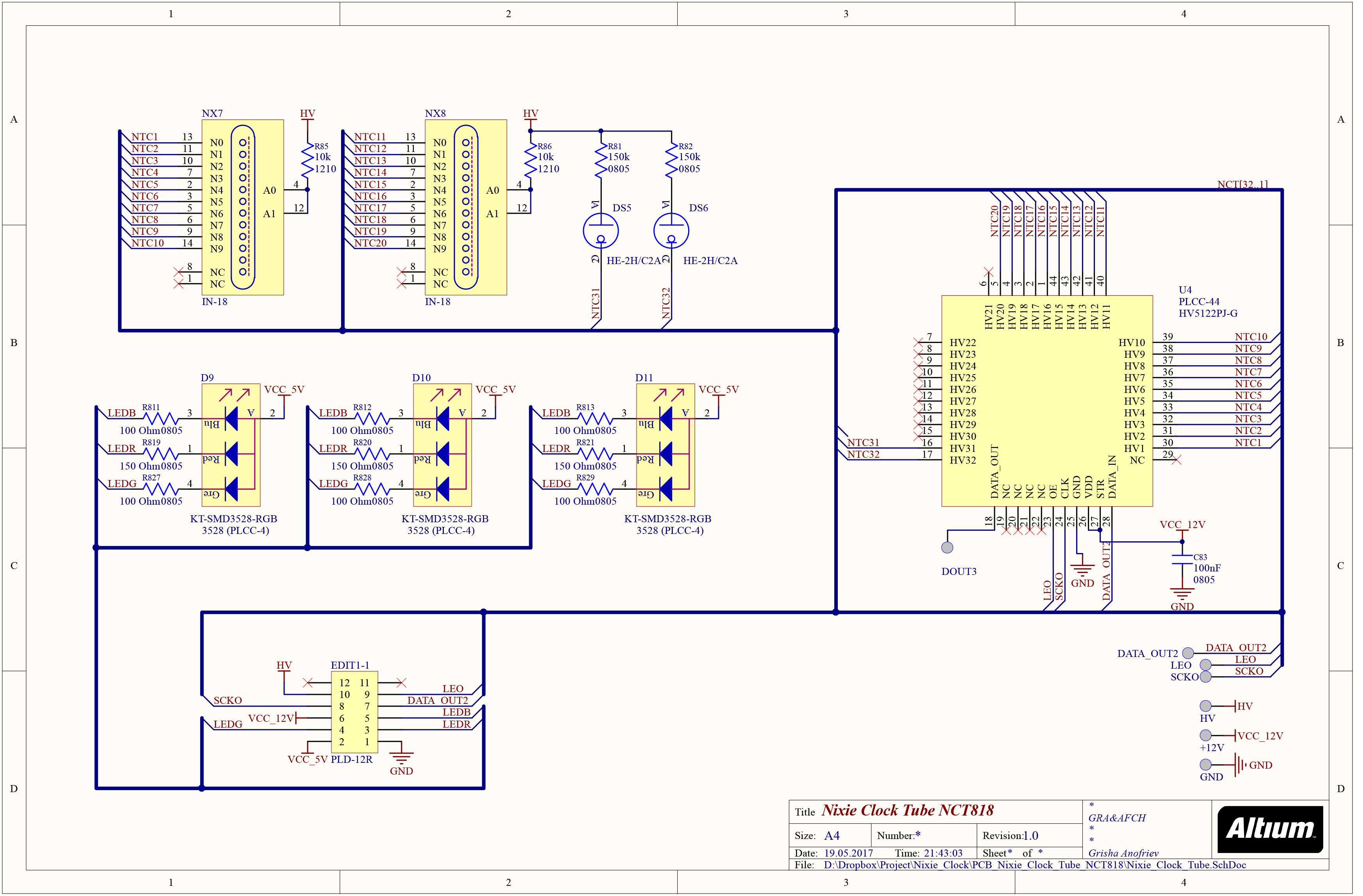 Schematic Nixie Clock Tube NCT818 V1.0 – GRA & AFCH on