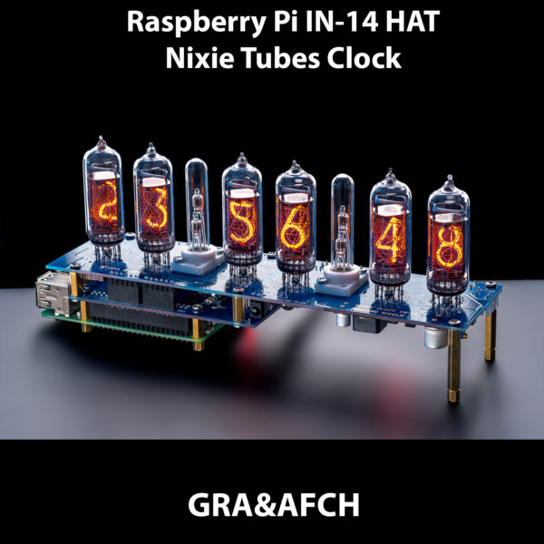 Raspberry Pi HAT Nixie Tubes Clock NCS314 for IN-14 Nixie Tubes, Options:  Tubes, GPS, Remote, Arduino, Columns