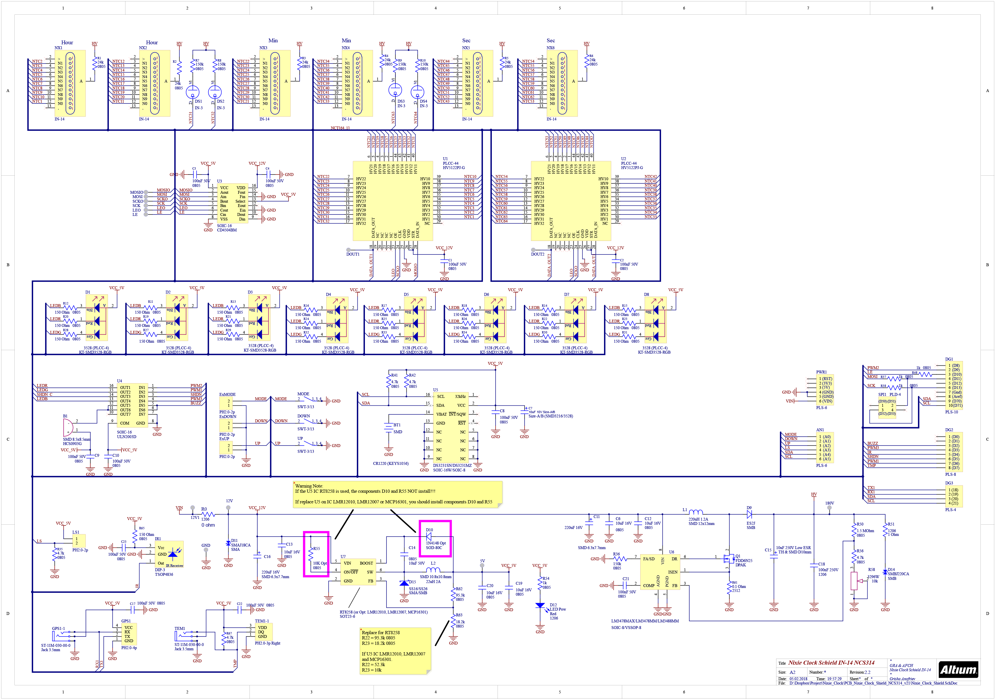 Nixie Tubes Clock Arduino Shield Ncs314 In 14 With Opt Remote Tube Schematic Page 1 Shiled For Photo Gallery